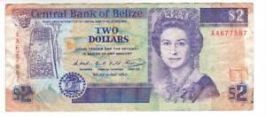 BELIZE $2 Dollars VF Queen Elizabeth II Banknote (1990) P-52a FIRST Prefix AA