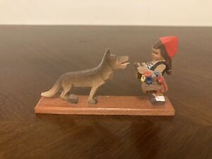Vtg Erzgebirge Expertic Little Red Riding Hood W/ Wolf Miniature Wood Figurine