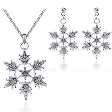Accessories Alloy Christmas Bridal Crystal Jewelry Set Pendant Snowflake
