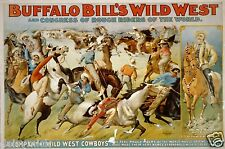 Buffalo Bill's Wild West Show 1899 VINTAGE POSTER 12x8 pouces réimpression Cowboys USA