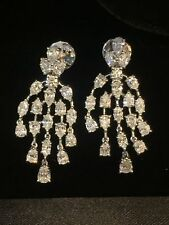 Classy 3.56 Cts F/VS1 Pear Marquise Cut Diamonds Dangle Earrings In 18Carat Gold