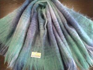 St Albans Mohair Throw Rug Lap Knee Blanket Made in Australia Blue Green