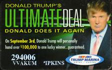 Donald Trump Marina Casino Collectable ULTIMATE DEAL Slot Players Card