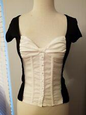 BEBE Tuxedo Blouse Black White Low Cut Belted Rayon Spandex Cotton Sz XS