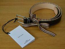 "PAUL SMITH black leather Signature Stripe piping trim belt SIZE 30"""
