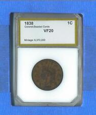 Nice Brown 1838 Large Cent In Holder        FREE US Shipping!!!!