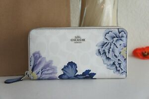NWT Coach 6656 Accordion Zip Wallet In Signature Canvas With Kaffe Fassett Print