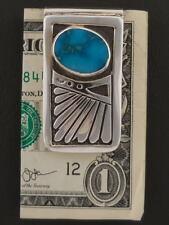 Custom Native American Money Clip Sterling Silver Blue Gem Turquoise Navajo