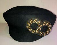 VINTAGE 40'S-50'S DOBBS DICER*LOVELY!! BLACK WOOL &GOLD POMPADOUR BERET HAT