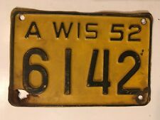 1952 Wisconsin Motorcycle License Plate All Original Paint YOM Harley BMW Indian