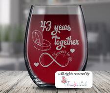 43rd Wedding Anniversary Wine Glass, Husband & Wife Anniversary Gift, 43 Years