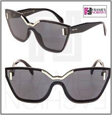 PRADA HIDE PR16TS Shiny Black Silver Grey Shield Fashion Sunglasses 16T Women
