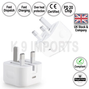 20W USB C UK Power Adapter Plug Fast Charge Genuine Charger for Apple iPhone