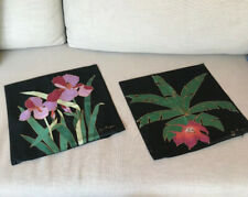 "2-Jim Thompson Unique Thai Orchid 100% Print Art of Silk 15""Square Pillow Covers"
