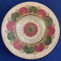 """Vintage Brass Metal, Hand Painted, Enamel 8"""" Decorative Bowl In Greens and Pinks"""