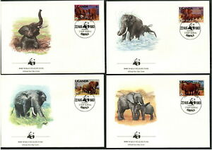 UGANDA - 1983 WWF 'AFRICAN ELEPHANT' Set of 4 First Day Covers [B6248]