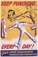 Keep Punching Every Day World War II Propaganda Poster 24x36 inch