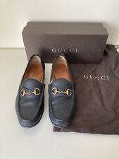 GUCCI 1953 Horsebit Black Leather Loafers, Size EU 39