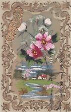 * JOYEUX ANNIVERSAIRE - Transparent Plastic Postcard 1900 Drawing Tempera
