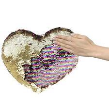 Pailletten Kissen Herz XL, lustiges Deko Sofakissen Zierkissen Glitzer 50cm gold