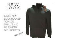 LADIES NEW LOOK HOODED TOP SIZE S 8 - 10 GREEN WITH POCKETS HALF PRICE FREE POST