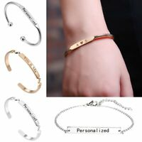 DIY Personalized Custom Engraved Name Stainless Steel Bracelet Bangle Jewellery