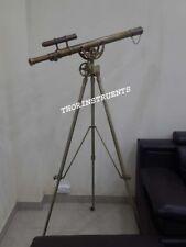 Brass Nautical Telescope Double Barrel Antique Wheel With Tripod Stand Decor
