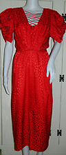 D.P Designs Christina Stambolian Beautiful Red Silk Sequin Shoulder Vintage Gown