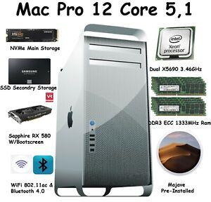 Mac Pro 12 Core 3.46GHz 128GB 1333mhz 256GB NVME 1 TB SSD RX580 W/Boot-Screen