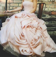 Vera Wang Davids Bridal Blush Pink Organza Ruffled Wedding Dress US 16/18/20