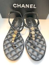 Chanel CC Star Black Leather Flat Thong Sandals Shoes 37.5EU