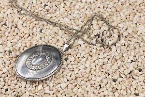 Silber Collier 800 Foto Medaillon Vintage Halskette 52cm Flachpanzer 24,75g