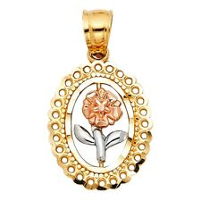 Oval Frame Rose Flower Floral Pendant 14k Italian Gold Tri Colored Small Charm