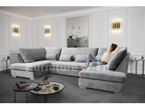 Belgravia U Shape Corner Sofa Silver Plush Velvet Large Size UK Manufactured