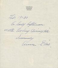 ANNE ELLIS - AUTOGRAPH LETTER SIGNED 02/19/1930