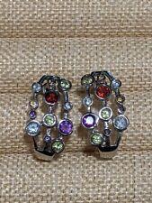 316L SS Silver Tone Garnet Amethyst aquamarine Half Hoop Earrings