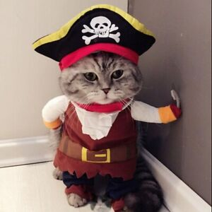 Funny Pet Cosplay Clothes Pirate Costume Dog Puppy Cat Suit W/Hook Halloween #2