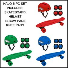 HALO 6 Piece Skateboard with Helmet & Pads Set ~ Blue Green or Red ~ Brand New
