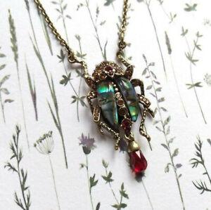 New Bill Skinner Designer Bejewelled Crystal Bug Scarab Beetle Pendant Necklace