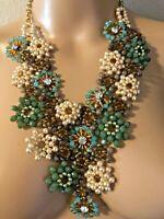Artisan Statement Bib Necklace $129 Hand Wired Flower Glass Bead Aqua Blue Wow!