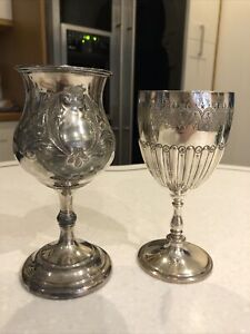 KE18 2x Antique Silver Goblet Wine Glass 460g 17cm Tall