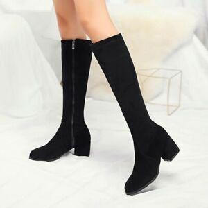 Women Elastic Knee High Riding Boot Side Zip Shoes Fashion Faux Suede Block Heel