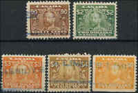 1915-23 Used F Canada 90c-$10.00 (5) Van Dam #FX13-19 Excise Tax Stamps