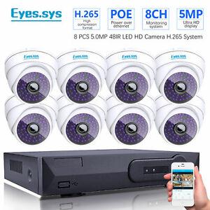 Eyes.sys 8pcs 5.0mp 2560*1920P 48IR LED Dome Camera 8CH 5MP CCTV POE NVR SYSTEM