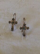 Antique 9kt Rose Gold Marcasite Cross Earrings