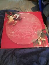 """Mikasa Crystal Christmas Spirit 14"""" Frosted Cake Plate"""
