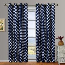 Meridian Navy Grommet Room Darkening Window Curtain Panels, Pair / Set of 2