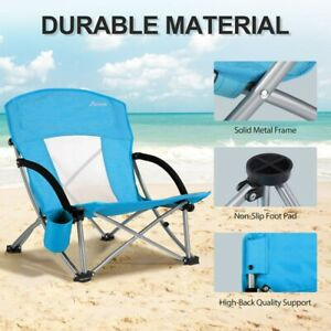 Backpack Fold Beach Chair w/Adjustable Padded Headrest & Cup Holder Outdoor