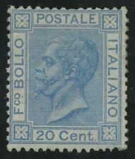 Regno 1867 - 20 centesimi BIGOLA azzurro nuovo rigommato - Sassone n°T26