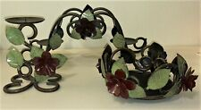 "Vintage Wrought Iron Candle Holders - Pillar / Triple Pillar / 6"" Wide - Choose"